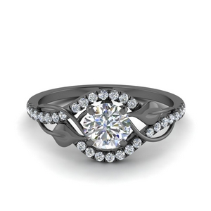 Leaf Halo Diamond Ring