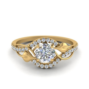round cut diamond nature inspired twisted halo engagement ring in FD8410ROR NL YG