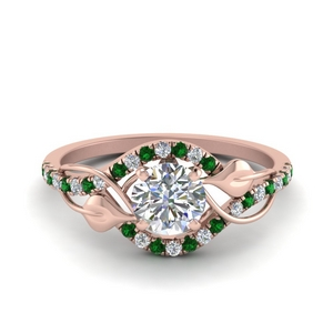round cut diamond nature inspired twisted halo engagement ring with emerald in FD8410RORGEMGR NL RG