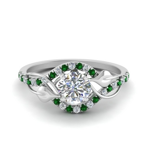 Leaf Diamond Wedding Ring With Emerald