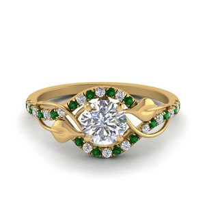 round cut diamond nature inspired twisted halo engagement ring with emerald in FD8410RORGEMGR NL YG