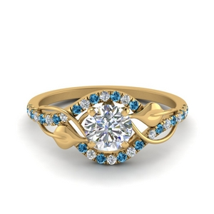 Leaf Wedding Ring With Blue Topaz