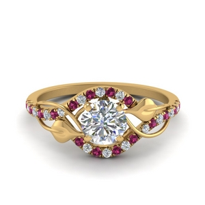 Round Cut Pink Sapphire Vintage Rings