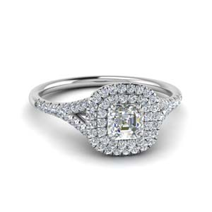 Delicate Double Halo Asscher Diamond Ring