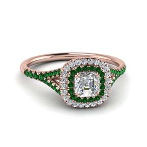 Delicate Double Halo Emerald Ring