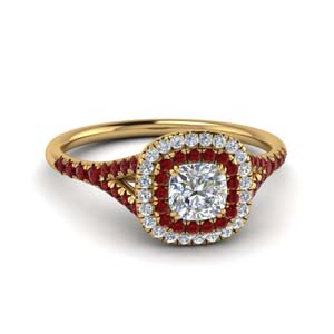 Double Halo Diamond Ring With Ruby