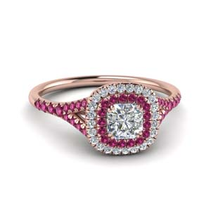 Double Halo Pink Sapphire Ring