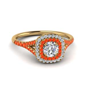 Double Halo Orange Topaz Ring