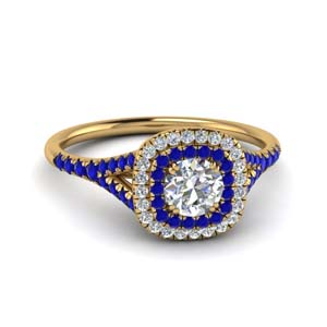 Sapphire Ring With Double Halo