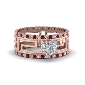 Accent Ruby Trio Wedding Set