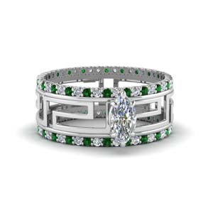 Celtic Marquise Diamond Bridal Set
