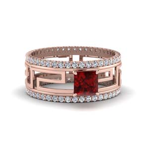 Ruby Trio Ring With Eternity Band