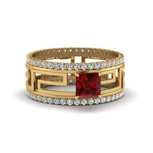 ruby solitaire trio ring with eternity band in FD8483PRRGRD NL YG.jpg