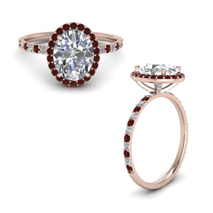 14K Rose Gold Ruby Moissanite Ring