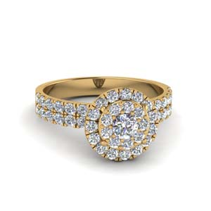 Double Halo Ring 14K Yellow Gold
