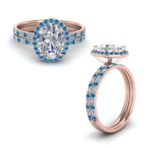 Halo Ring Set With Topaz