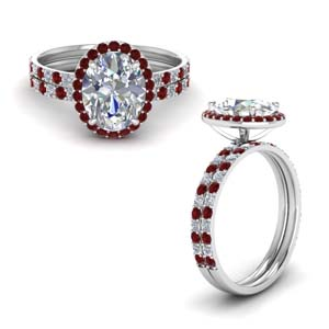 Ruby With Bridal Ring Set
