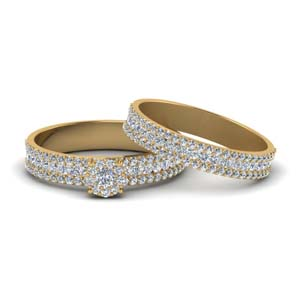 Diamond Gold Halo Bridal Set