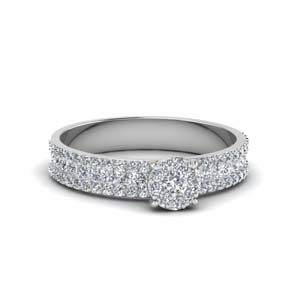 Platinum Triple Row Halo Ring
