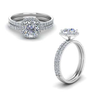 Petite Halo Moissanite Wedding Ring Set