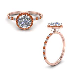 18K Rose Gold Halo Engagement Ring