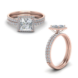 Prong Princess Cut Halo Ring Set