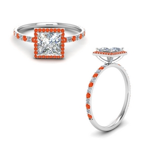 Orange Topaz Princess Cut Halo Ring