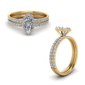 Marquise Shaped Halo Wedding Set
