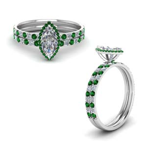 Marquise Shaped Emerald Ring Set