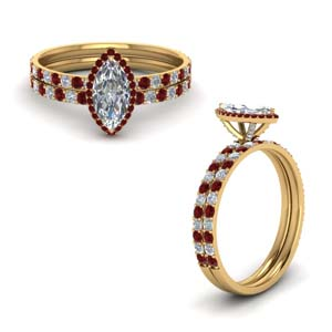 Ruby Petite Wedding Ring Set