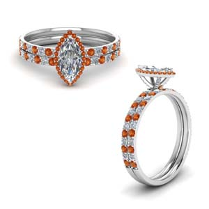 Platinum Orange Sapphire Bridal Set