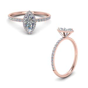 Marquise Shaped Diamond Halo Ring