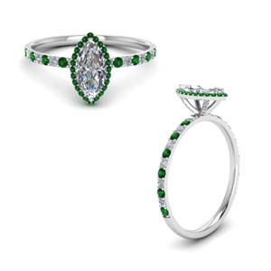 Halo Marquise Cut Ring With Emerald