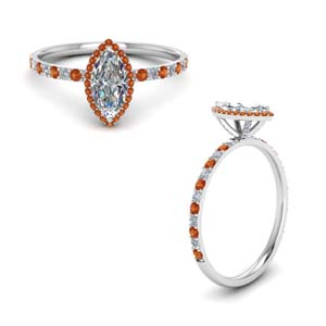 White Gold Orange Sapphire Ring