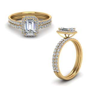 Emerald Cut Halo Ring Set