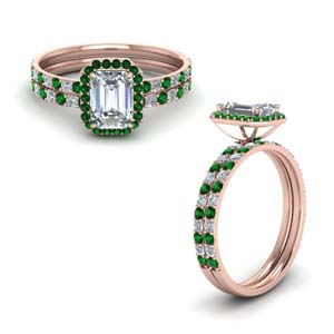 18k Rose Gold Halo Bridal Set