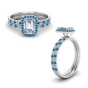 Emerald Cut Ring Set With Topaz