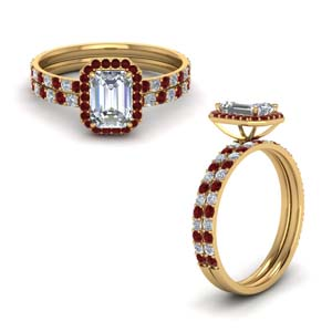 Delicate Halo Ring Set With Ruby