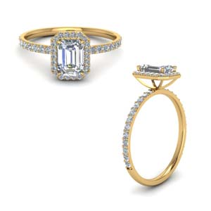 Emerald Cut Halo Man Made Diamond Ring