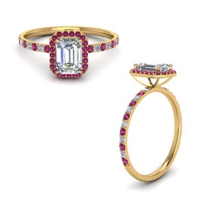 Emerald Cut Halo Pink Sapphire Ring