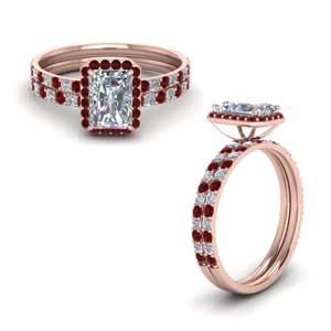 Radiant Cut Halo Ruby Ring Set