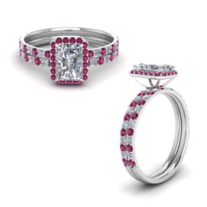 Pink Sapphire Halo Ring Set