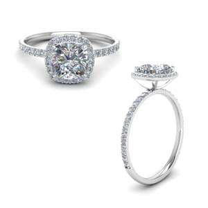 Cushion Cut Halo Moissanite Rings