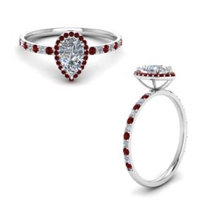 Pear Shaped Halo Ring With Ruby