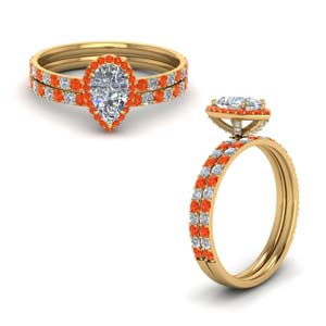 Gold Halo Wedding Ring Set