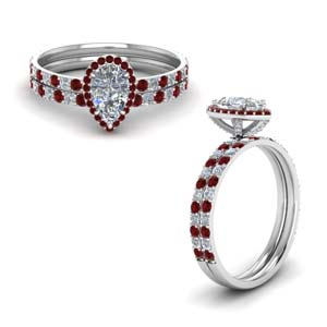 Diamond Bridal Set With Ruby