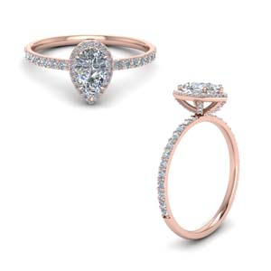 diamond studded prong pear halo ring in FD8514PERANGLE1 NL RG
