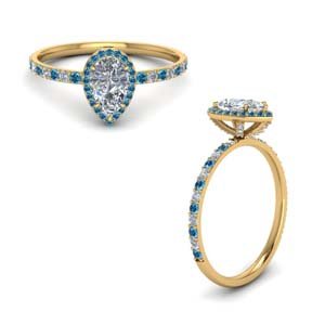 Topaz Studded Prong Diamond Ring