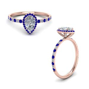 Sapphire With Pear Halo Diamond Ring