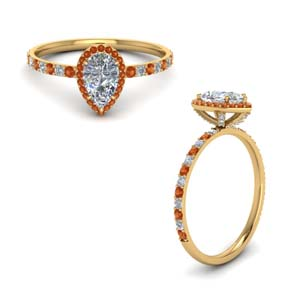 Orange Sapphire Petite Diamond Ring